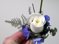 Ivory Rose Buttonhole with Blue Hydrangea and Foliages