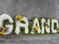 Grandad Funeral Tribute - Letters edged in Foliage, based in White Chrysanthemums with sprays of flowers in Blue and Yellow